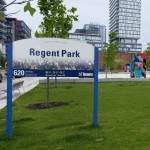 "Something Changing: ""The 'revitalization' of Regent Park. The loss of the physical aspect of what the community had to something new. This theme really hits home. Yes my community structure is changing but there is the uncertainty of what it will become. That scares me the most"". – River St. and Dundas St. East"
