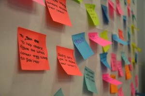 Colourful post-it notes used for brainstorming